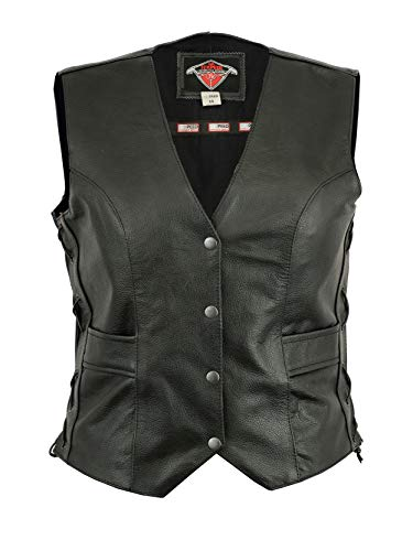 Womens Texpeed Leather Motorcycle Waistcoat Cut With Laced Sides & Pockets - UK 14