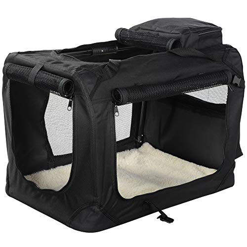 MOOL Lightweight Fabric Pet Carrier Crate for Dogs, Cats or Small Animals, Black