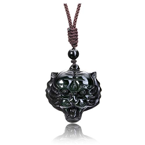 CrystalTears Handcarved Tiger Head Amulet Pendant Necklace Natural Rainbow Obsidian Healing Crystal Gemstone Necklace for Men