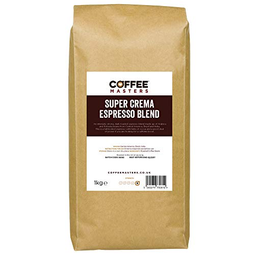 Coffee Masters Super Crema Espresso Coffee Beans 1kg - Intensely Strong Dark Roasted Blend of Arabica and Robusta Whole Coffee Beans - Ideal for Espresso Machines