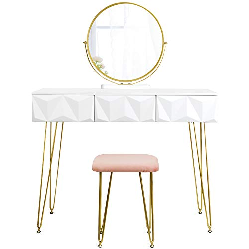EUGAD White Dressing Table with Velvet Pink Stool 360° Swiveling Mirror Set with 3 3D Effect Drawers Under the Makeup Bedroom Desk Dresser Set Hairpin Legs