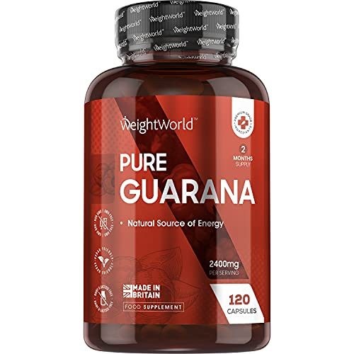 Pure Guarana Capsules - 2400mg - Guarana Extract Diet & Energy Supplement, Natural Complex, 4 x More Caffeine Than Coffee, Workout Energy , Vegan Friendly - 120 Capsules