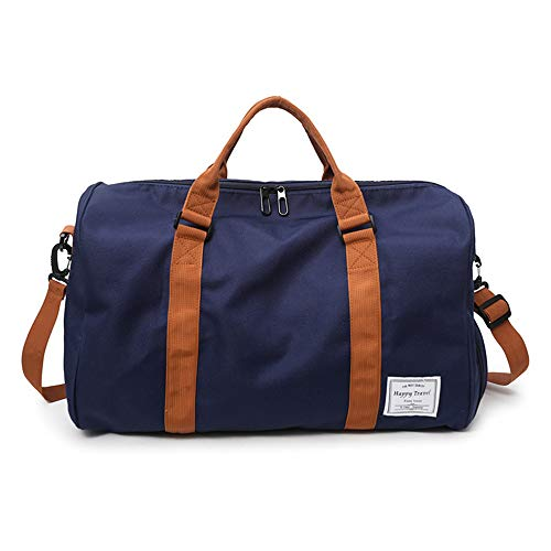 MOLLYGAN Travel Duffel Bag Large Capacity Yoga Gym Bag Durable Duffle Sports Bag with Shoes Compartment Tote Bag for Men and Women, Blue,