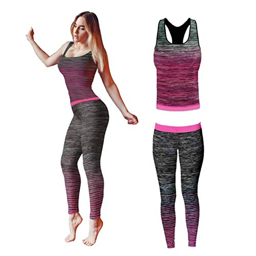 Fitness Clothes for Women, Gym Kit Running Clothes Sport Wear for Women, Ladies Workout Legging, Yoga Outfit Set Top and Legging Stretch-Fit (2 Piece Set Top & Leggings) (Pink)