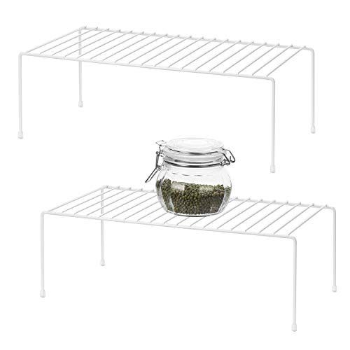 QIWODE Kitchen Cupboard Organiser, Home and Kitchen Storage Shelf Wire Rack Made of Metal for Kitchen Cabinets, Counter-Tops, Pantries, Food and Utensils - White (Pack of 2)