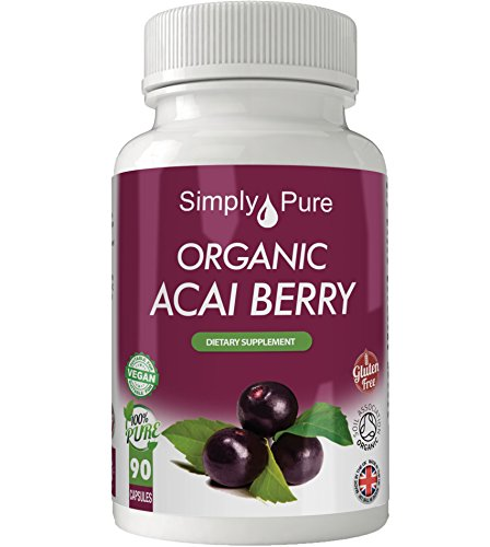 Simply Pure Organic Acai Berry Capsules x 90, 100% Natural Soil Association Certified, 500mg, Gluten Free, GM Free and Vegan.