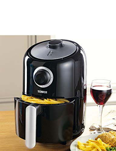 Tower T17026 Air Fryer with Rapid Air Circulation System, VORTX Frying Technology, 30 Minute Timer and Adjustable Temperature Control for Healthy Oil Free or Low Fat Cooking, 1000 W, 1.6 Litre, Black