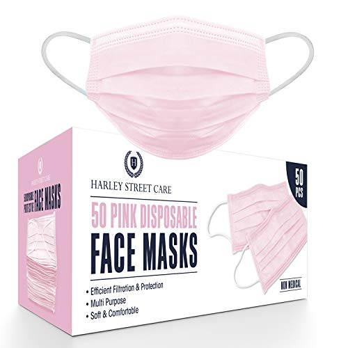 Harley Street Care Disposable Pink Face Masks Protective 3 Ply Breathable Triple Layer Mouth Cover with Elastic Earloops (Pack of 50)