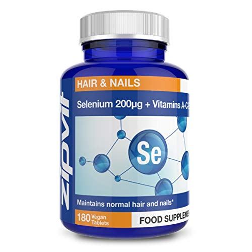 Selenium 200mcg with Vitamins A-C-E. 180 Vegan Tablets for Thyroid and Immune Health, Hair, Skin and Nails. Vegetarian Society Approved. 6 Months Supply