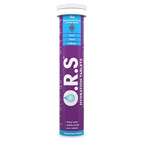 O.R.S Hydration Tablets with Electrolytes, Vegan, Gluten and Lactose Free Formula – Natural Blackcurrant Flavour, Purple, 24 Count
