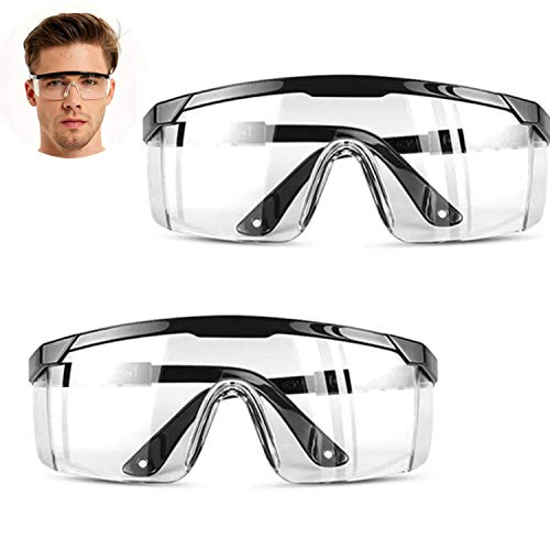 HONGCI 2 Pack Safety Glasses,Anti Fog and UV Protection Protective Clear Goggles,Safety Protection Glasses,Safety Goggles for Kids Nerf Gun Battles,Construction,DIY,Lab,Welding,Chemistry,Personal Use