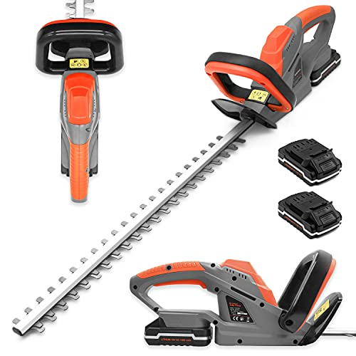 Terratek 20V Cordless Electric Hedge Trimmer 2 x 20V Batteries, 51cm (510mm) Cutting Length, Easy cut Pro Lightweight Garden Handheld Cutter, Includes Battery, Charger Safety Blade Guard