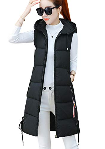 TYQQU Women's Vest Zipper with Two Side Pocket Hooded Gilet Quilted Vest Winter Autumn Black L