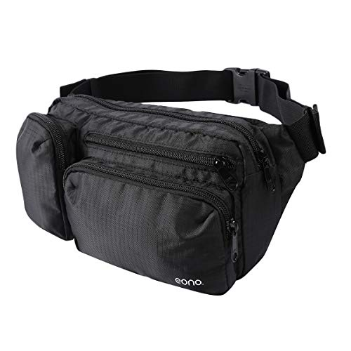 Eono by Amazon - Water Resistant Bum Bag with Multi-Pockets, Large Capacity Waist Fanny Pack for Hiking, Dog Walking, Travel & Outdoor Activities