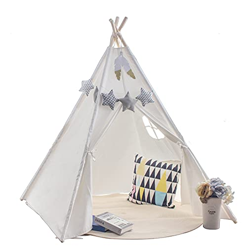 Princess Castle Teepee Tent for Kids with Coloured Flag & Feathers &Carry Case, Play Teepee Toys for Baby & Toddler Indoor Outdoor Playing, Foldable Gifts Playhouse for Boys and Girls