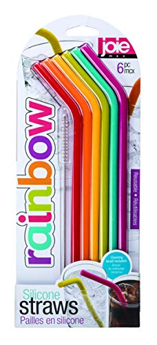 Joie Kitchen Gadgets 12711 Joie Rainbow Reusable Silicone Straws with Cleaning Brush, Set of 6, Assorted Colors