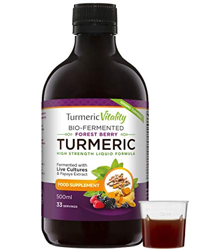 Turmeric Curcumin with BioCultures & Enzymes - Fermented High Strength Liquid Turmeric Supplement with Black Pepper & Ginger Equivalent to 2 Turmeric Capsules by Turmeric Vitality