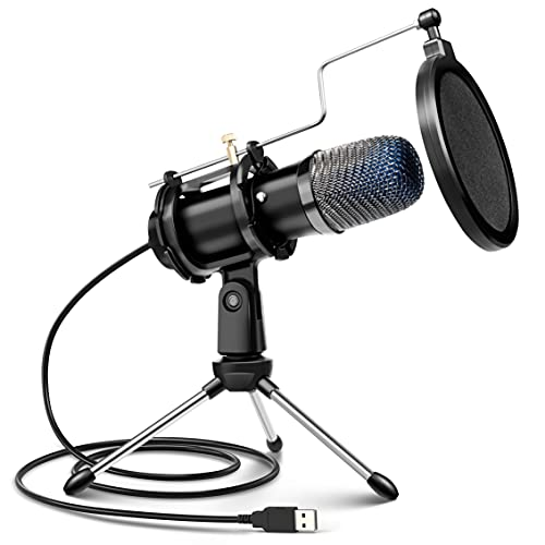 Computer Microphone, Condenser Gaming Microphone for PC Desktop USB Microphone with Tripod Stand & Pop Filter Mic Compatible with MacOS Windows, for PS4/5 Facebook Streaming Zoom Skype