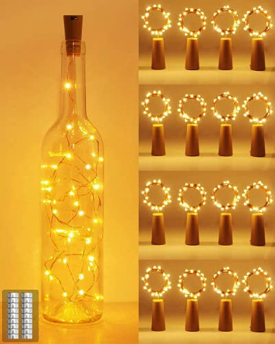 [16 Pack] Bottle Lights with Cork, Kolpop Cork Lights for Wine Bottles, 2m 20 LED Copper Wire Battery Powered String Fairy Lights for Party Wedding Christmas Table Centrepiece Decoration (Warm White)