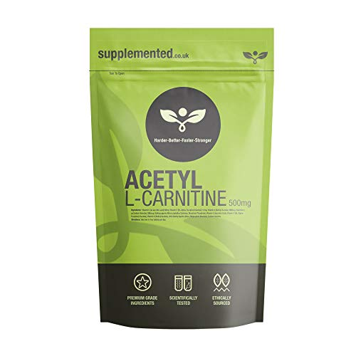Acetyl-L-Carnitine 500mg 90 Capsules (ALCAR) High-Strength Capsules UK Made Supplement Letterbox Friendly Memory, Mental Alertness, Testosterone