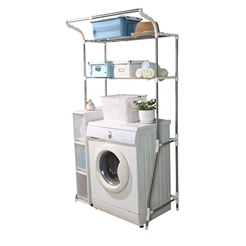 Hershii 2-Tier Over Washing Machine Storage Rack Adjustable Bathroom Utility Room Laundry Standing Shelf Units Above WC Toilet Space Saving Organiser with Clothes Hanging Rail - Ivory