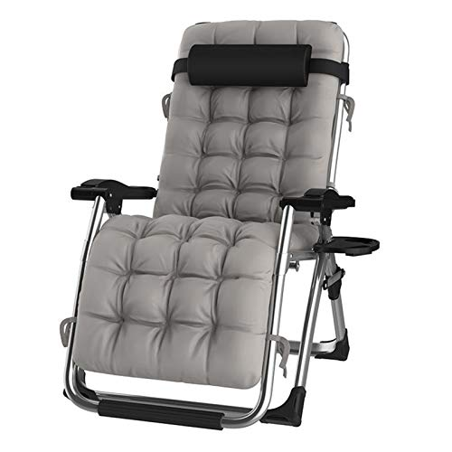 DQCHAIR Sun Loungers, Outdoor Reclining Zero Gravity Chair with Cup Holder, Extra Wide Adjustable Lounger Chair for Patio Garden Beach Pool, with Cushions Support 200kg (Color : Silver)
