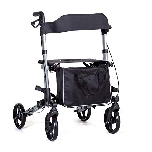 Elite Care X Cruise Folding lightweight compact rollator wheeled walker walking frame with seat - choice of colours (Silver)