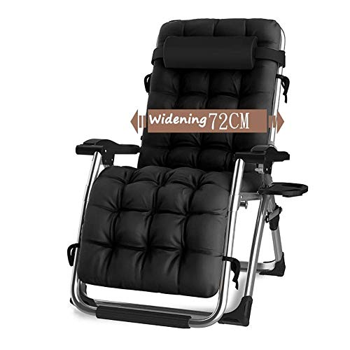 CHAIRQEW Patio Lawn Chairs Reclining for Heavy People Zero Gravity Outdoor Garden Beach Deck Sun Lounger Support200kg (Color : Black)