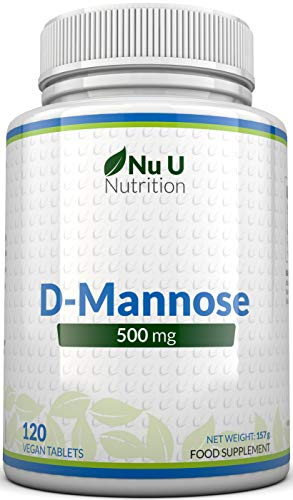 D-Mannose Tablets 500mg   120 Tablets   High Strength   Allergen Free and Suitable for Vegetarians and Vegans   Not Mannose Capsules or Powder Made in The UK by Nu U Nutrition
