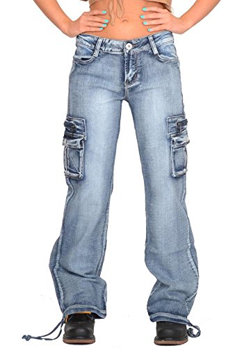 Glamour Outfitters Wide Leg Faded Vintage Wash Denim Cargo Pants Combat Jeans - Blue (12)