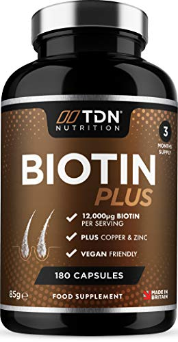 High-Strength Biotin (12,000mg per Serving) - 50% More Absorption with Natural d-biotin & zc-Boost™ Zinc & Copper Complex - Slow Release Delivery - 100% Vegan Capsule - Made in The UK