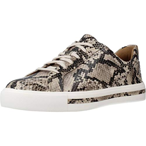 Clarks Women's Un Maui Lace Low Top Sneakers, Multicolour Natural Snake Natural Snake, 5 UK
