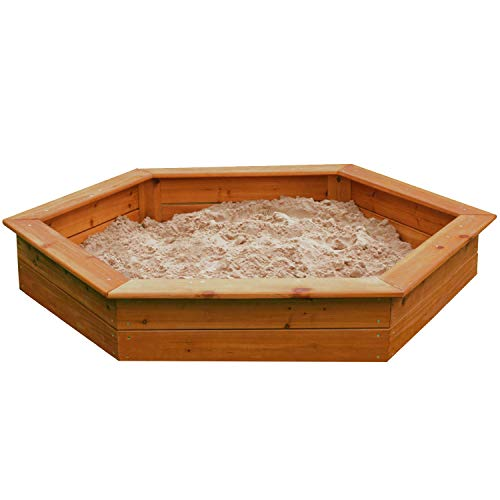 Big Game Hunters Large 1.5 Meter Hexagonal Wooden Sandpit with Weatherproof Cover and Underlay