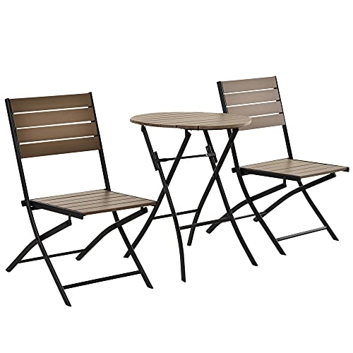 Outsunny 3 Pcs Folding Bistro Dining Set 2 Single Chair 1 Dining Table Metal Frame Plastic Panels Slatted Compact Garden Outdoor Apartment Furniture - Black&Brown