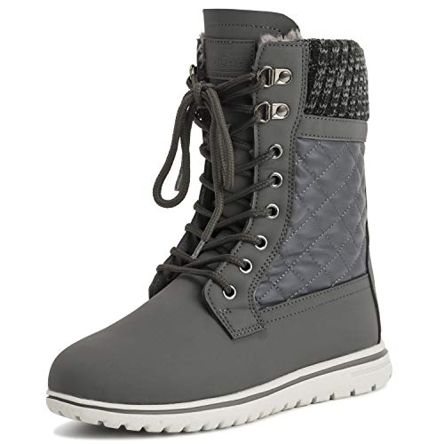 Womens Quilted Short Snow Winter Faux Fur Warm Durable Waterproof Boots - 5 - GRE38 AYC0529