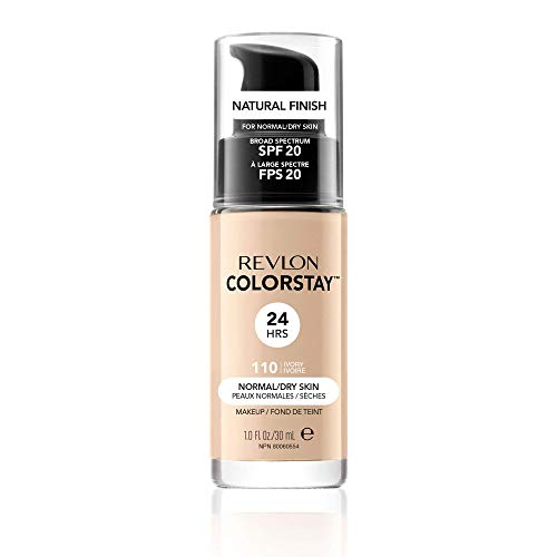 Revlon ColorStay Liquid Foundation Makeup for Normal/Dry Skin SPF 20, Longwear with Medium-Full Coverage & Natural Finish, Oil Free, (110), 30ml