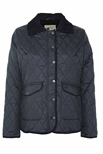 Ladies Country Estate Zipped & Studded Quilted Short Winter Coat Jacket Black 14