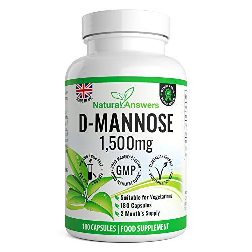 180 D-Mannose Capsules - 2 Month's Supply of Vegetarian Capsules not Tablets or Pills - Max Strength 1500mg per Serving - Precision D-Mannose Made in The UK