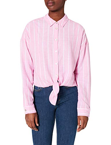 Tommy Jeans Women's TJW Relaxed Front Knot Shirt, Pink Daisy/Stripe, M