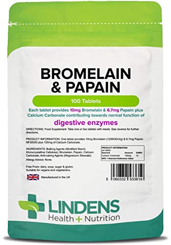 Lindens Bromelain & Papain Tablets - 100 Pack - Contains 10mg of Bromelain & 100mg of Papain in Convenient Easy to Swallow Tablets - UK Manufacturer, Letterbox Friendly