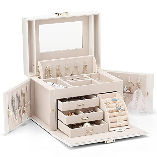 Vlando Faux Leather Jewellery Box, High Capacity Jewellery Organizer Box Storage with 3 Drawers for for Bracelets, Earrings, Rings, Necklaces for Christmas Gift, Wedding Birthday Gift (White)