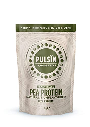 Pulsin Natural Unflavoured Plant Based Vegan Pea Protein Powder 1kg (Gluten Free / Palm Oil Free / Dairy Free)