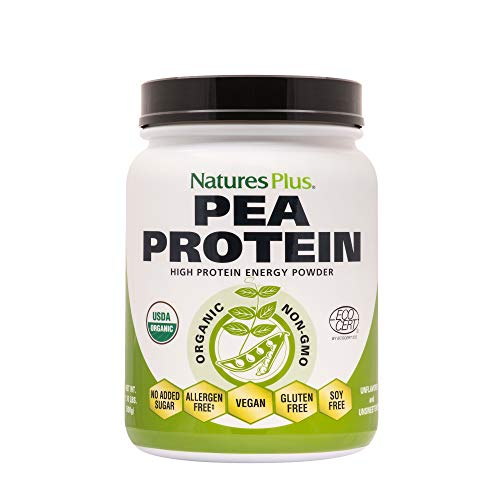 Nature's Plus Organic Pea Protein - 500g - Pure Unflavoured Food Supplement - Sugar Fee, Gluten Free, SOYA Free, Vegan, Gluten Free - 25 Servings