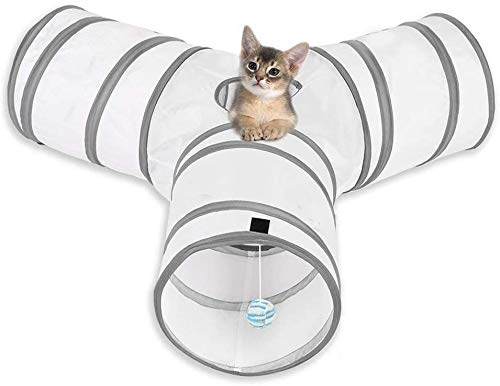 MFEI Rabbit Toys, Cat Tunnels 3 Way Cat Tunnel Rabbit Toys Crinkle Collapsible Tube Toy Tunnel for Cats Rabbits, Dogs, pets