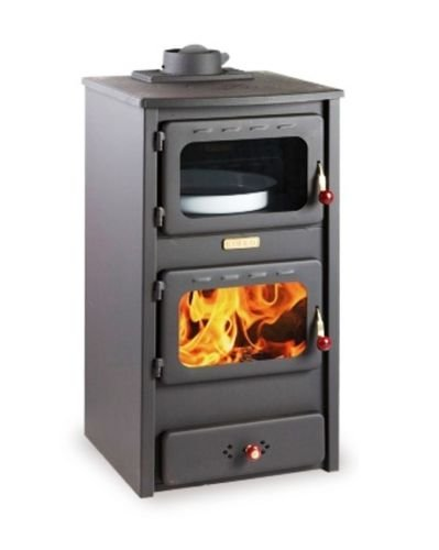 Wood Burning Stove Fireplace Log Burner Solid Fuel with Oven and Cast Iron Top 8.4 kw Heating Power