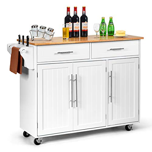 COSTWAY Kitchen Island Cart, Large Storage Trolley with 2 Drawers, 2 Cabinets, Knife Rack, 4 Lockable Wheels & Rubber Wooden Tabletop, Mobile Serving Utility Cart, 122 x 46 x 92cm (White)