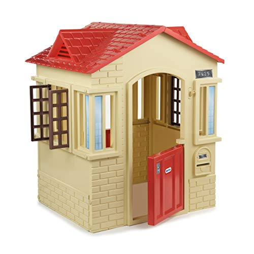 Little Tikes Cape Cottage Playhouse - With Working Doors, Windows & Shutters - Interactive - Active Play Promotes Physical Development - Indoor or Outdoor Use - Tan