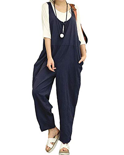 Kidsform Women's Loose Overall Dungarees Baggy Sleeveless Casual Jumpsuit Cotton Linen Straps Playsuit Pants navy Size M/UK 10