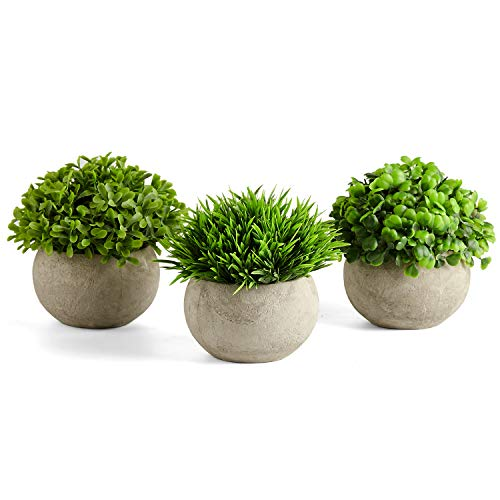 PRIMAISON Artificial Green Grass Round Potted Plants Set-Decorative Fake Plant Faux Plastic Plants Indoor &Outdoor for House Office Desk Bathroom Kitchen DIY Decor Gift Set of 3