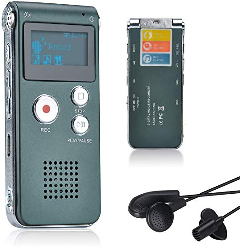 Lychee 8GB Voice Recorder USB Rechargeable Dictaphone LCD Recorder with Multifunctional Digital Audio and MP3 Player (Gray)